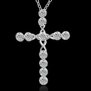 Jewelry - Silver Diamond Cross Pendant Necklace